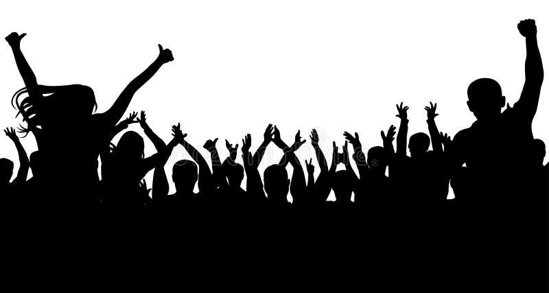 Muchedumbre alegre de la gente, silueta Partido, aplauso Concierto de la danza de fans, disco stock de ilustración