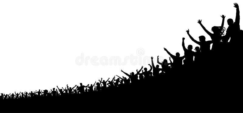 Muchedumbre de fans de deportes Se divierte a la audiencia alegre Muchedumbre de gente stock de ilustración