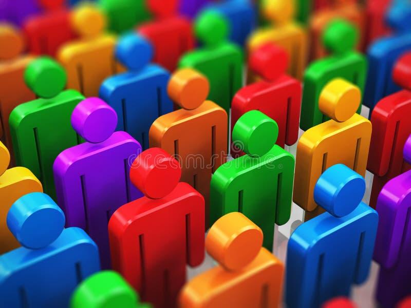 Muchedumbre de figuras del ser humano del color stock de ilustración