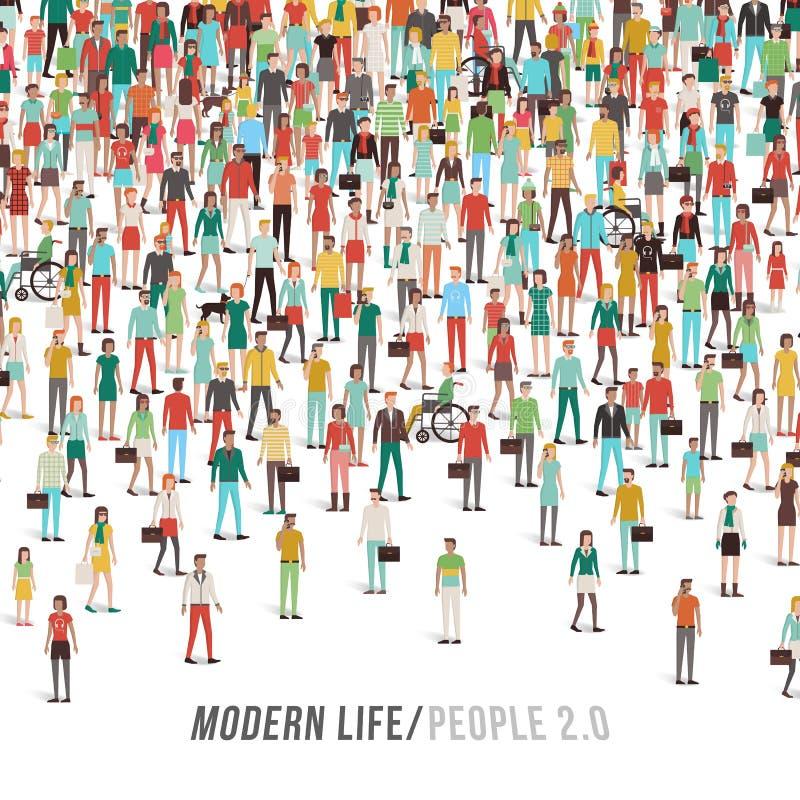 Muchedumbre de gente stock de ilustración