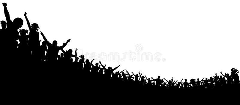 Muchedumbre de gente aplaudida Fans de deportes Ventiladores en el concierto Audiencia del aplauso ilustración del vector
