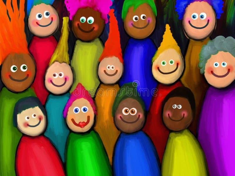 Muchedumbre de gente diversa stock de ilustración