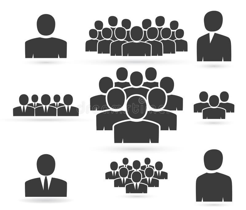 Muchedumbre de gente en siluetas del icono del equipo ilustración del vector