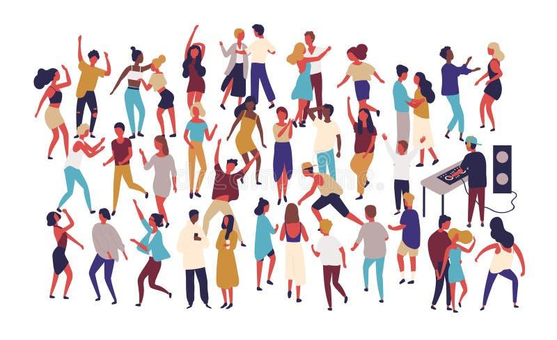 Muchedumbre de gente minúscula que baila en sala de baile en el club nocturno aislado en el fondo blanco Feliz de los hombres y d ilustración del vector