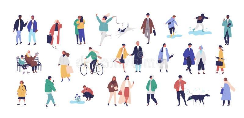 Muchedumbre de gente minúscula vestida en ropa o prendas de vestir exteriores estacional que camina en la calle y que realiza act stock de ilustración