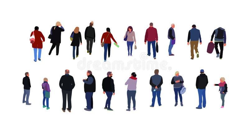 Muchedumbre de gente que camina en la calle vestida en ropa de la demi-estación Grupo de los hombres divertidos, mujeres en ropa  ilustración del vector