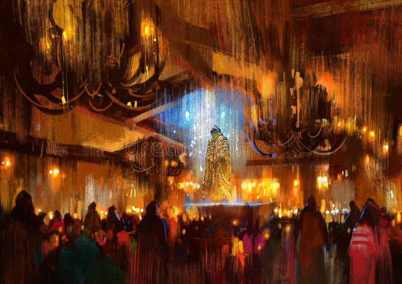 Muchedumbre de gente que ruega en la noche santa, pintando ilustración del vector