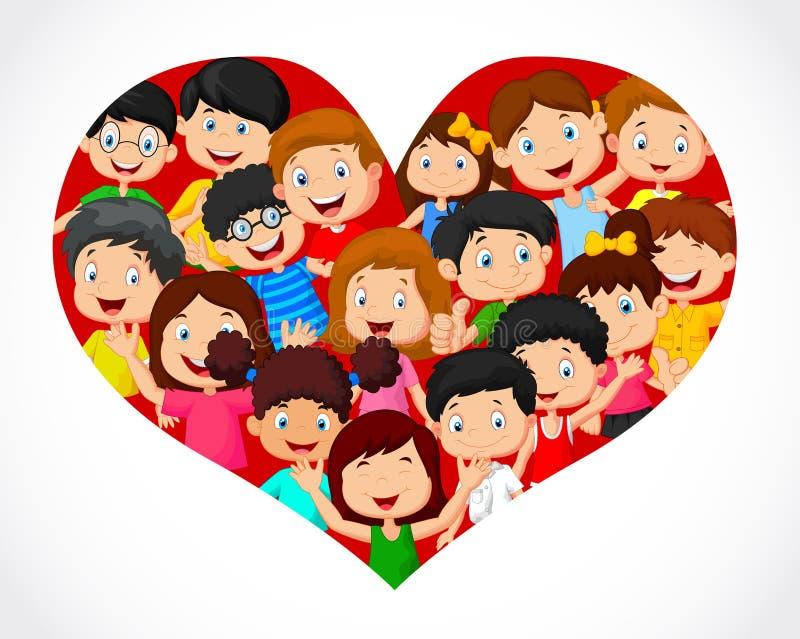 Muchedumbre de historieta de los niños en la formación del corazón stock de ilustración