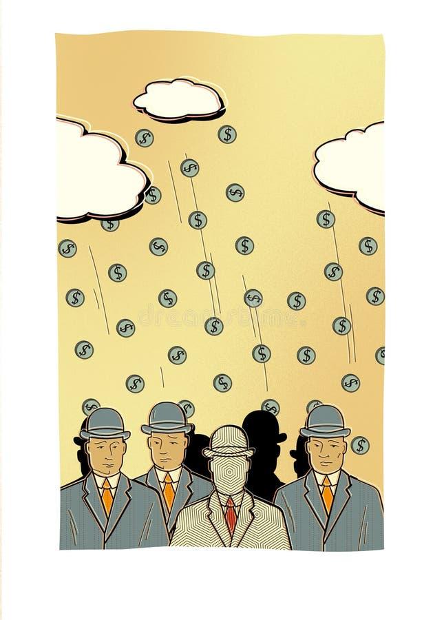 Muchedumbre de hombres en trajes de negocios y sombreros con las caras embotadas contra la perspectiva de las monedas que caen de stock de ilustración