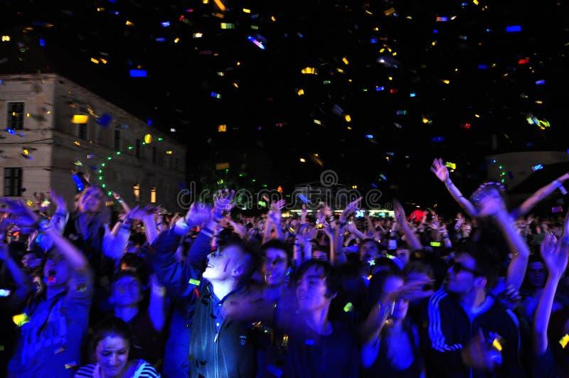 Muchedumbre de ir de fiesta a gente durante un concierto foto de archivo libre de regalías