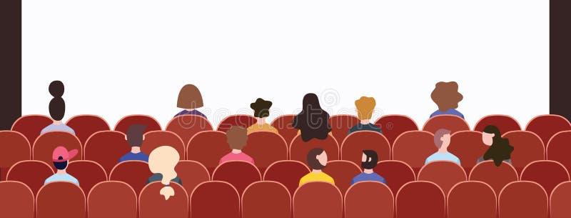 Muchedumbre de la audiencia que se sienta en sillas en la presentación del acontecimiento libre illustration