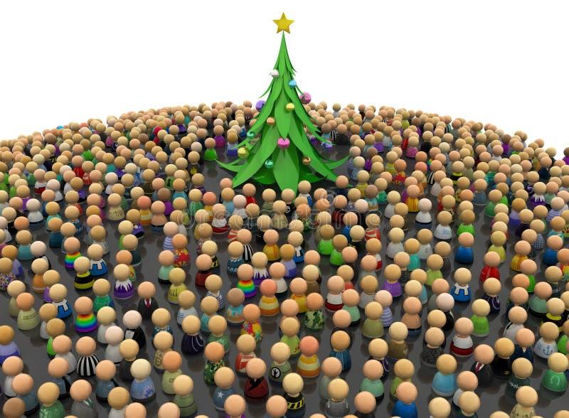 Muchedumbre de la historieta, árbol del Año Nuevo ilustración del vector