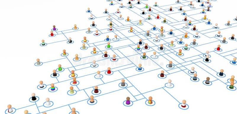 Muchedumbre de la historieta, esquema de la conexión stock de ilustración