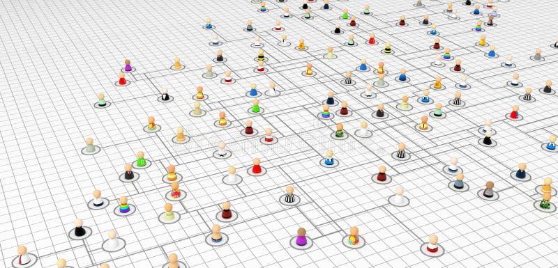 Muchedumbre de la historieta, esquema del plan de la conexión stock de ilustración