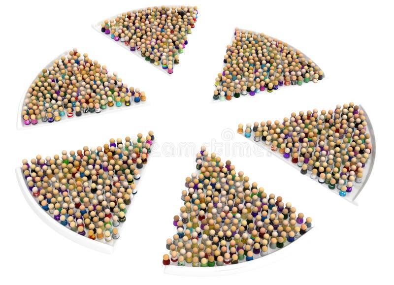 Muchedumbre de la historieta, rebanadas de la pizza ilustración del vector