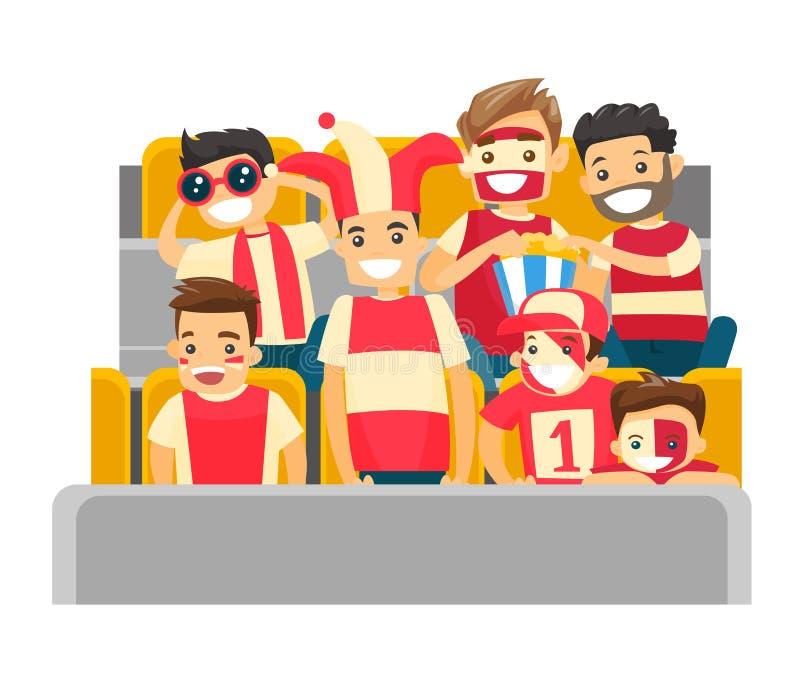 Muchedumbre de partidarios caucásicos del deporte en el estadio stock de ilustración