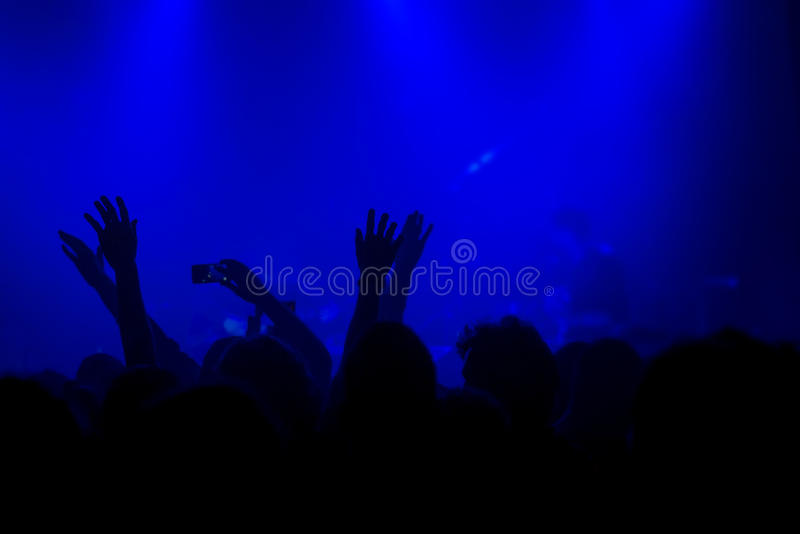 Muchedumbre del concierto de la música, gente que disfruta de funcionamiento vivo de la roca imagen de archivo