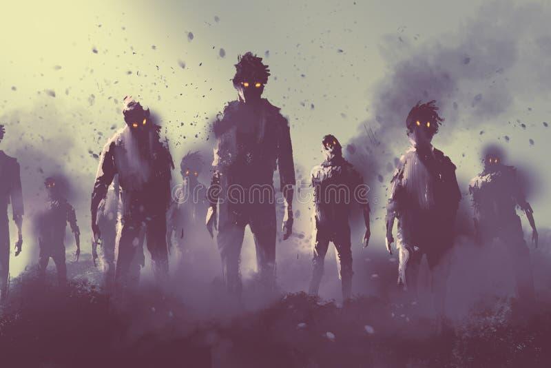 Muchedumbre del zombi que camina en la noche ilustración del vector
