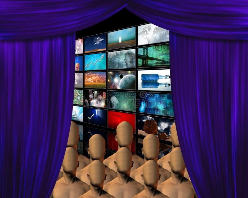 Muchedumbre detrás de la cortina stock de ilustración