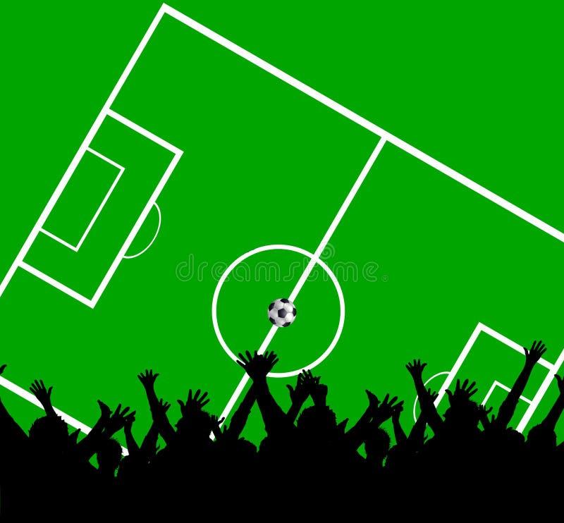 Muchedumbre en el campo de fútbol stock de ilustración