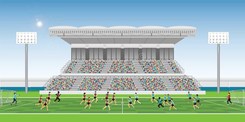 Muchedumbre en gradería cubierta del estadio al juego del equipo del partido de fútbol que anima ilustración del vector