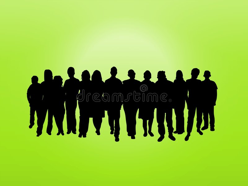 Muchedumbre en verde libre illustration