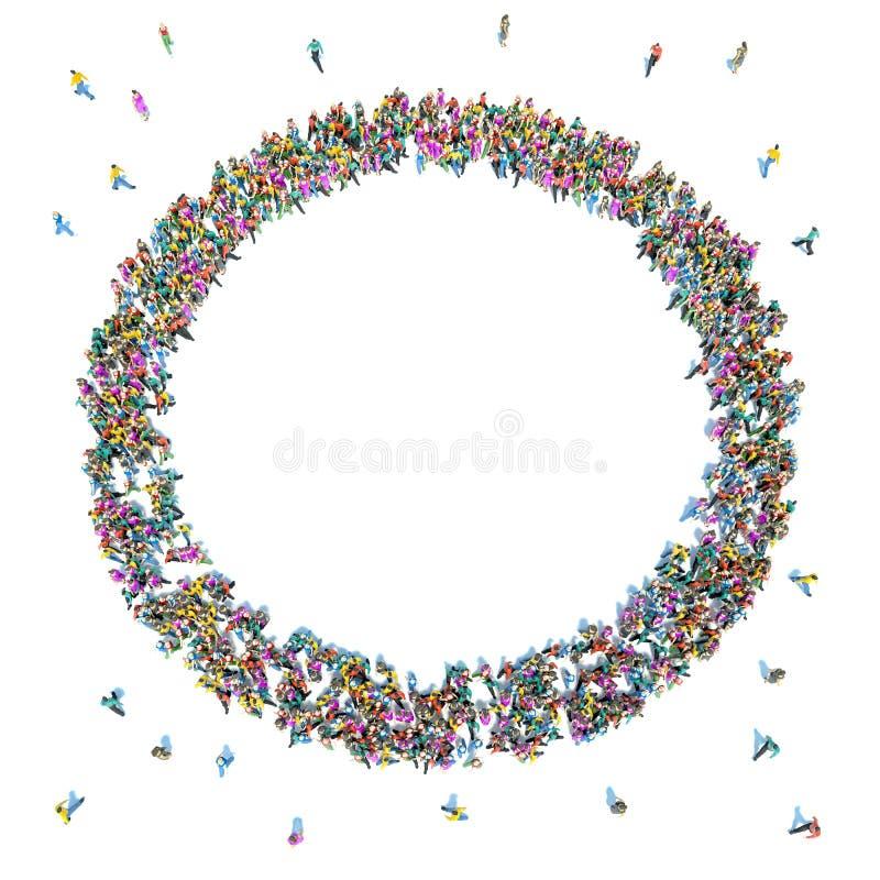 Muchedumbre grande de gente que se mueve hacia el centro que forma un círculo ilustración del vector