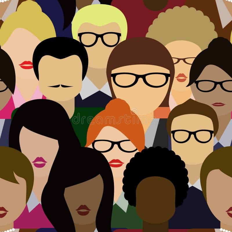 Muchedumbre inconsútil del fondo del modelo Vector de mucha gente libre illustration
