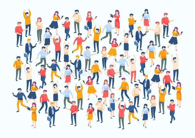 Muchedumbre isom?trica de la gente Grupo grande de la gente, diverso varón y caracteres femeninos, concepto de la audiencia del n stock de ilustración