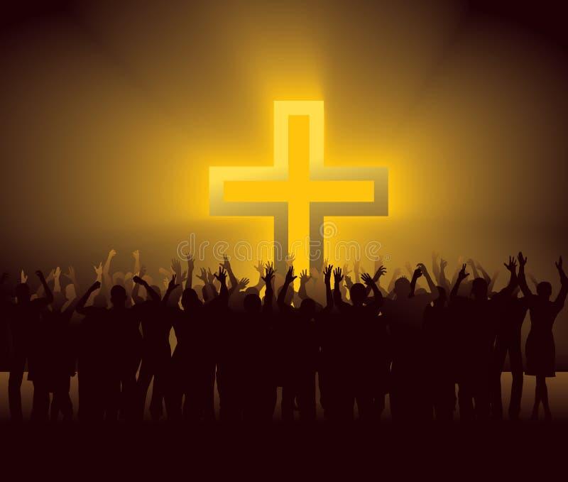 Muchedumbre que anima alrededor de la cruz que brilla intensamente libre illustration