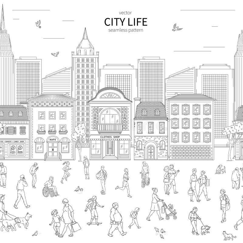 Muchedumbre urbana que camina en la calle y edificio en modelo inconsútil de la ciudad Niños y adultos en la diversa línea arte d stock de ilustración