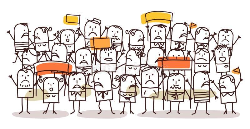 Muchedumbre y protesta ilustración del vector