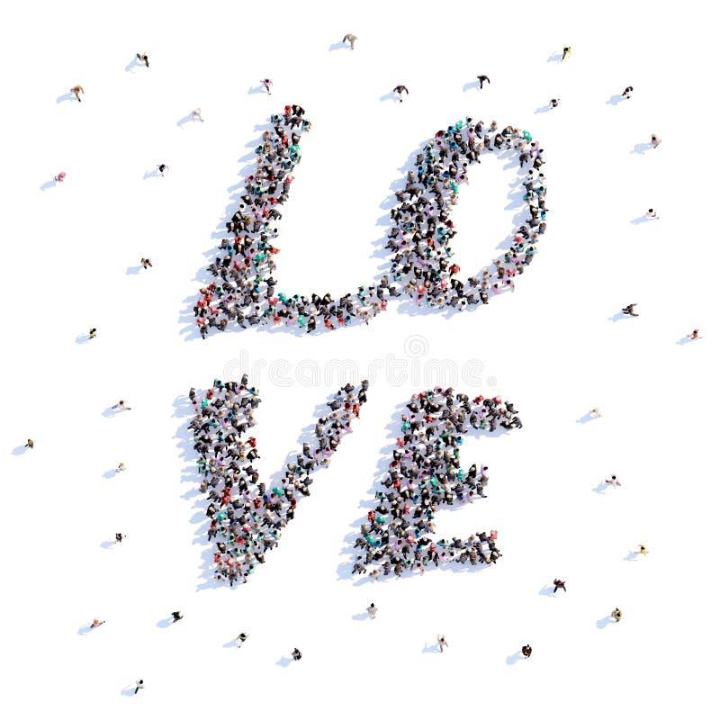 Mucho amor de la forma de la gente, icono representación 3d libre illustration