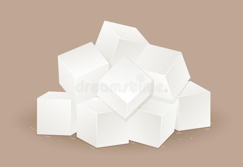 Mucho cubo del azúcar blanco stock de ilustración