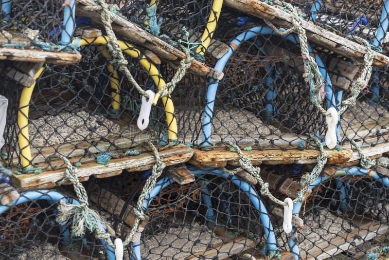 Mucho de trampas de la pesca, potes de langosta en el puerto imagen de archivo libre de regalías