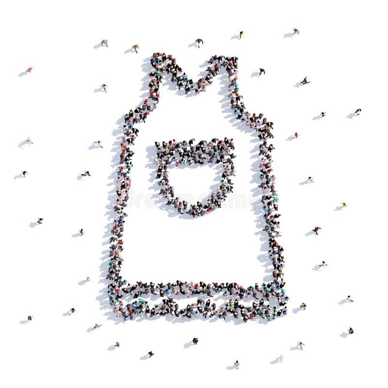 Mucho delantal de la forma de la gente, dibujo de la mano representación 3d stock de ilustración