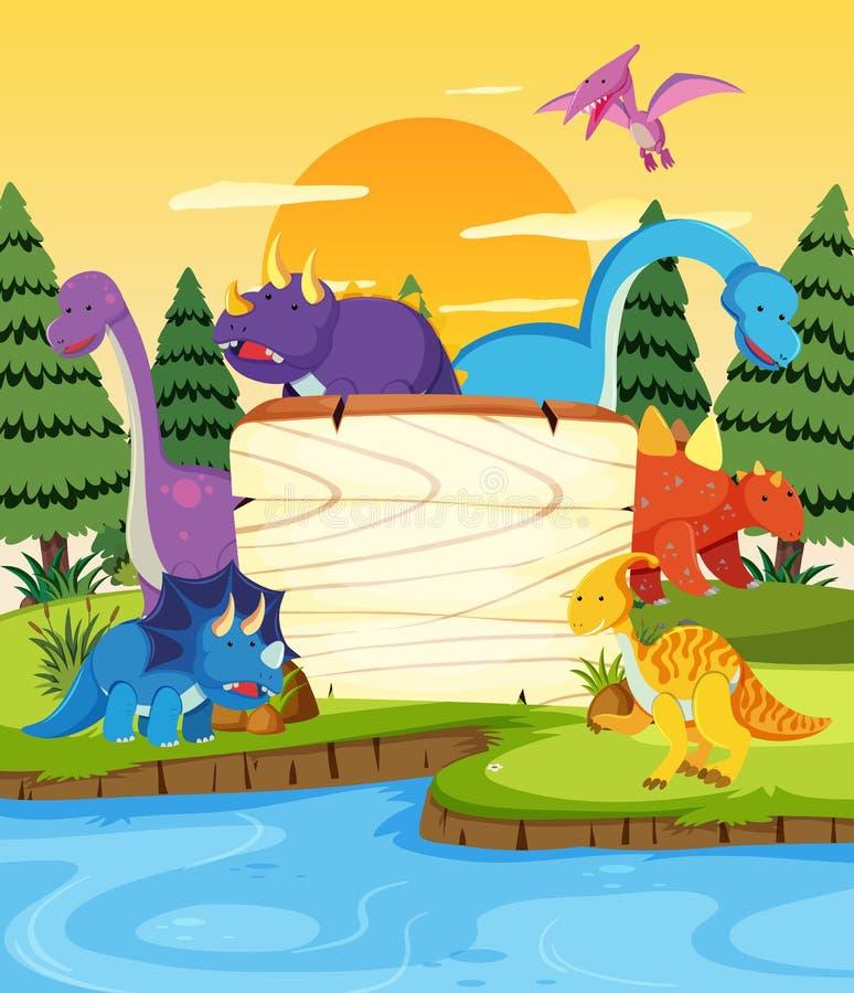 Mucho dinosaurio en el tablero de madera ilustración del vector