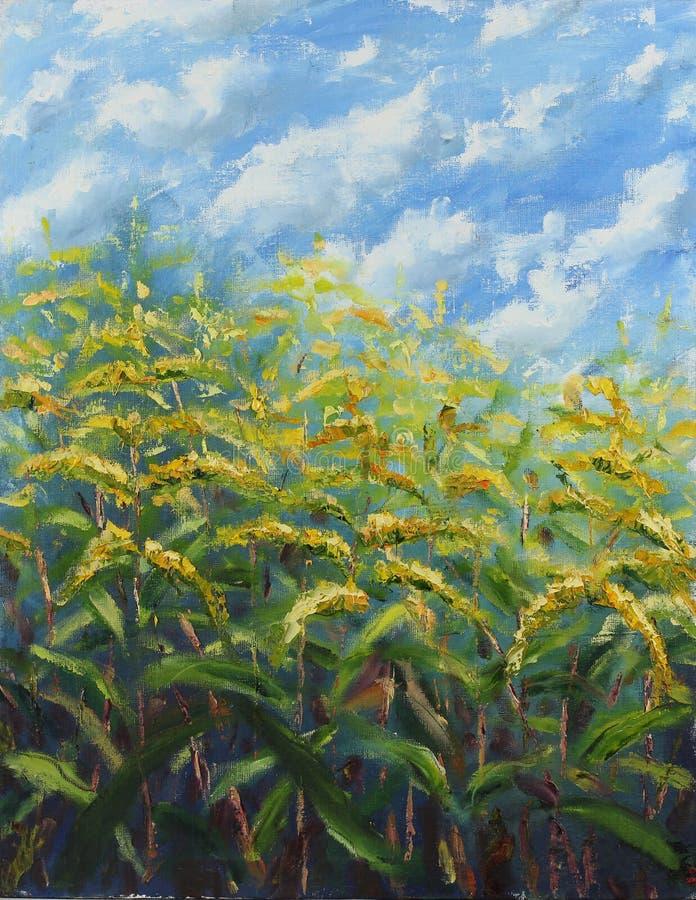 Mucho el amarillo grande florece la pintura al óleo foto de archivo
