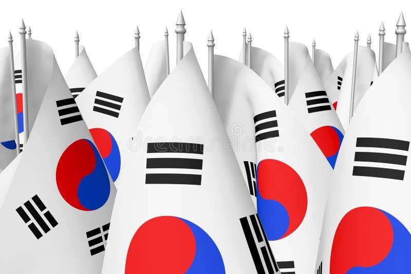 Mucho el pequeño coreano señala el primer por medio de una bandera ilustración del vector