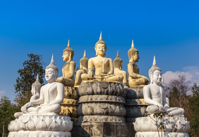 Mucho estatua de Buda que se sienta en fondo del cielo azul imágenes de archivo libres de regalías