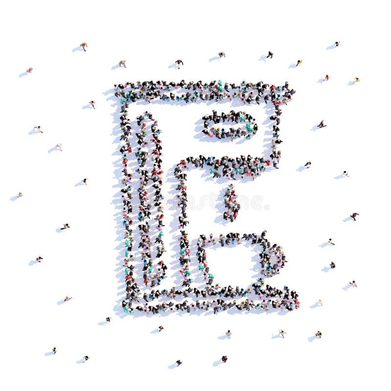 Mucho fabricante de café de la forma de la gente, icono representación 3d ilustración del vector