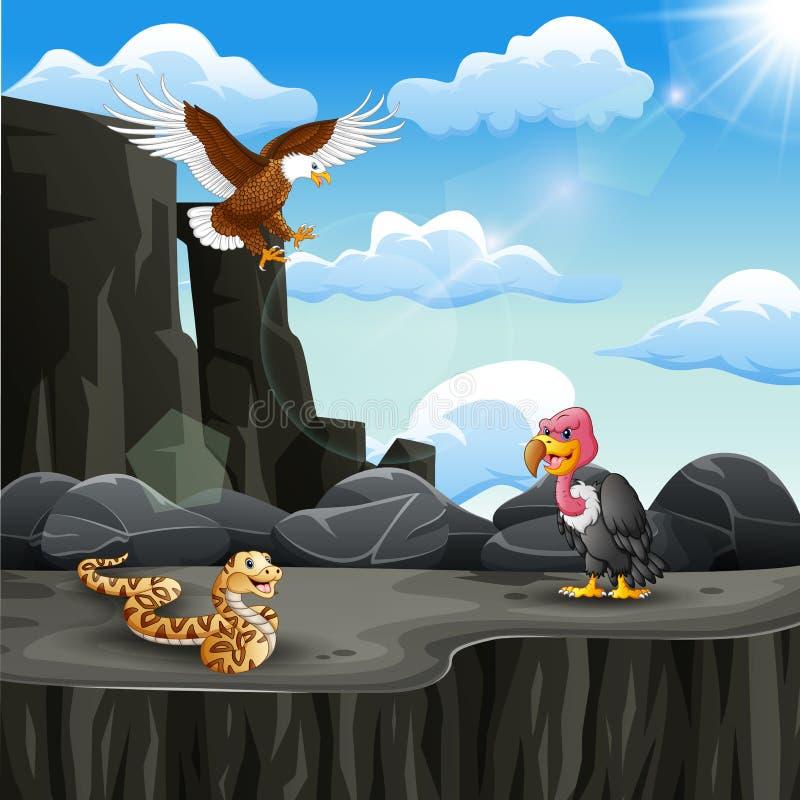 Mucho historieta animal en el acantilado de la montaña libre illustration