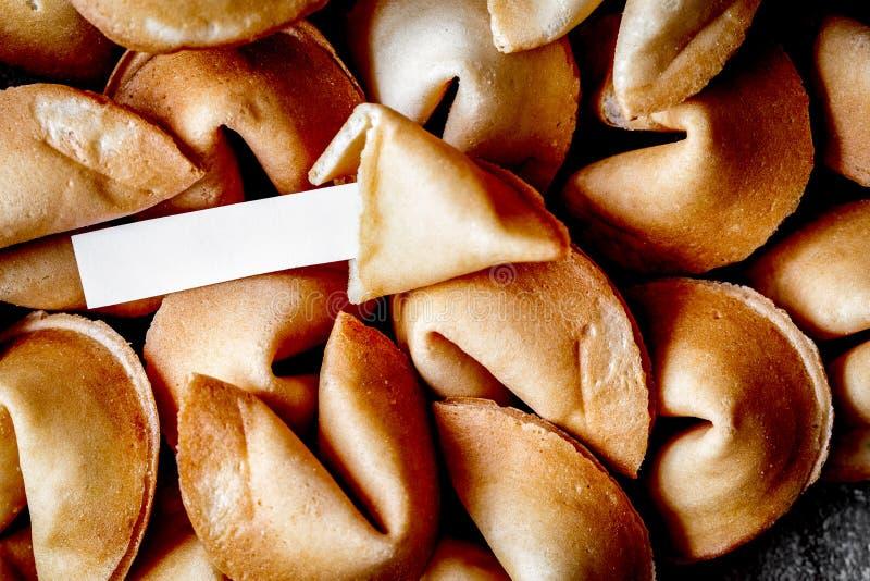 Mucho papel chino de la galleta de la suerte con la predicción fotos de archivo libres de regalías