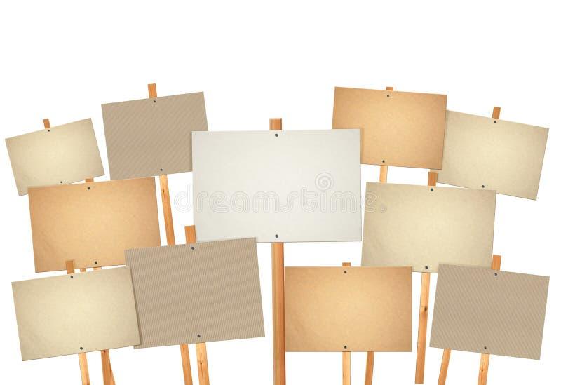 Mucho tarjeta en blanco de la muestra de la protesta imagen de archivo