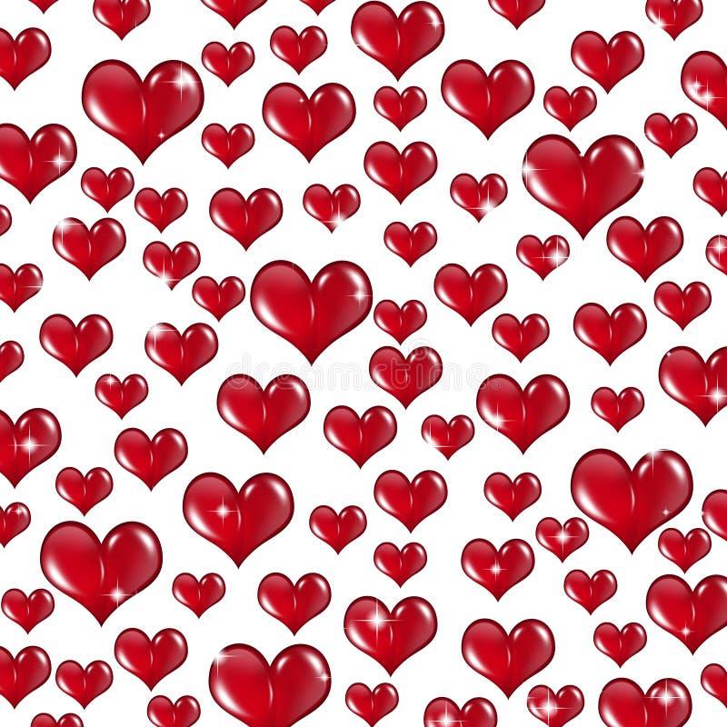 Mucho Valentine Hearts rojo en el fondo blanco ilustración del vector