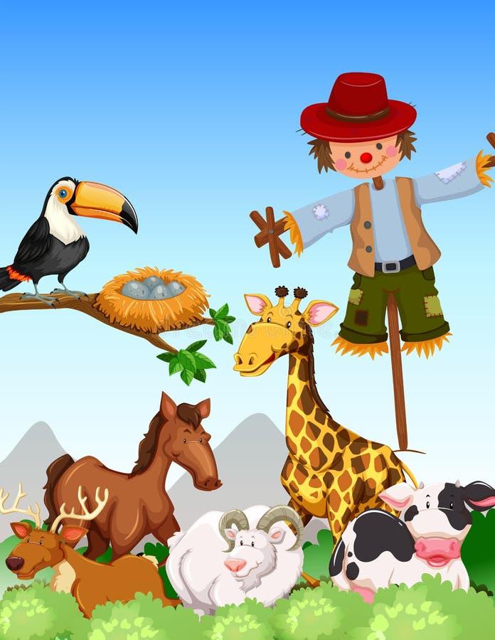 Muchos animales salvajes y espantapájaros en thefield stock de ilustración
