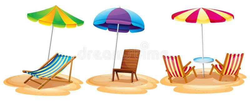 Muchos asientos en la playa ilustración del vector