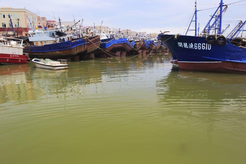 Muchos barcos de pesca amarraron en el puerto de zhang fotografía de archivo libre de regalías