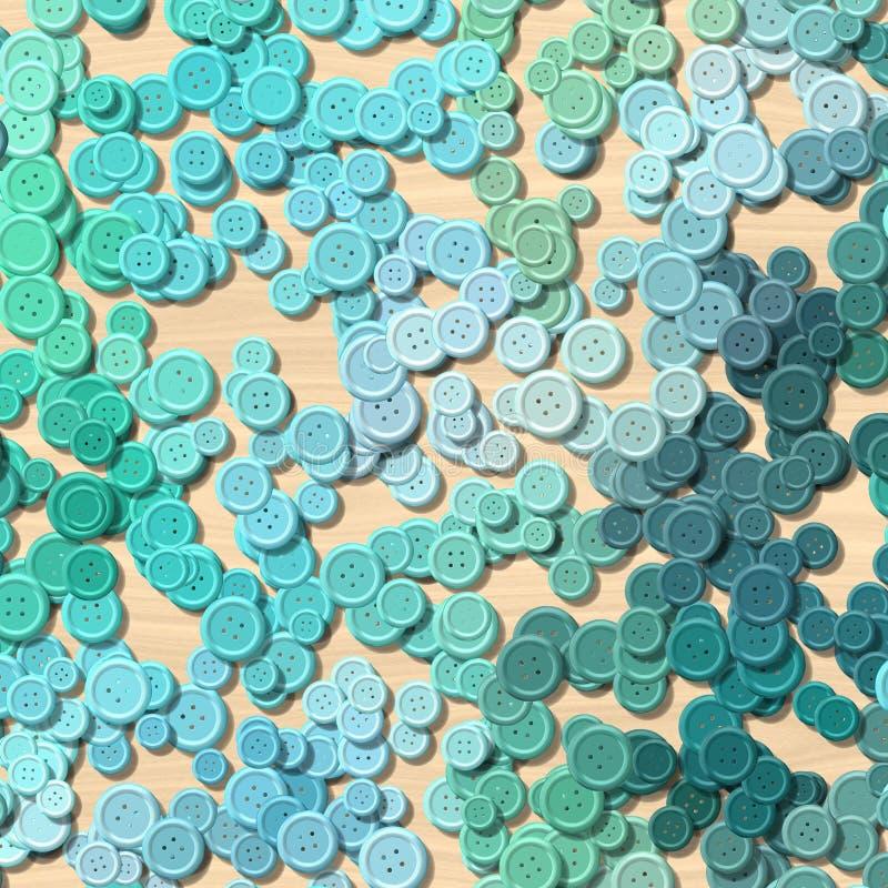 Muchos botones plásticos coloreados azul de la ropa vintage dispersaron aleatoriamente en el fondo arbolado ligero - visión super ilustración del vector