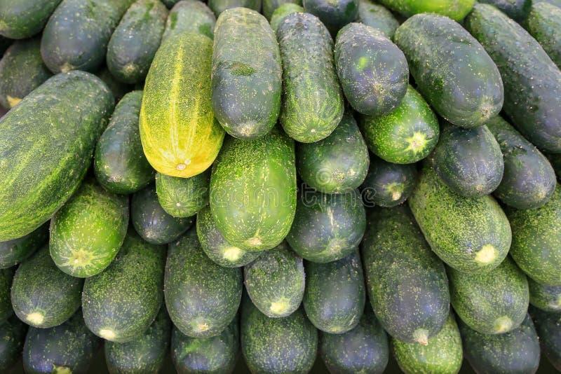 Muchos calabacines verdes frescos en mercado foto de archivo libre de regalías